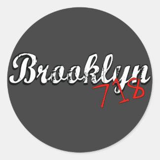Brooklyn 718 pegatinas redondas