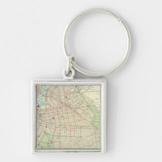 Brooklyn and Vicinity Silver-Colored Square Keychain