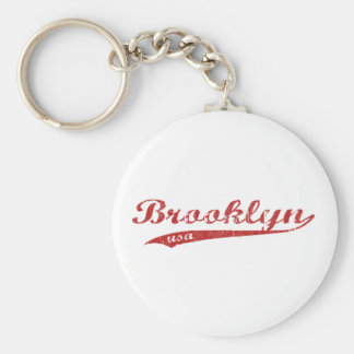 brooklyn basic round button keychain