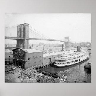Brooklyn Bridge and Docks, 1905 Poster