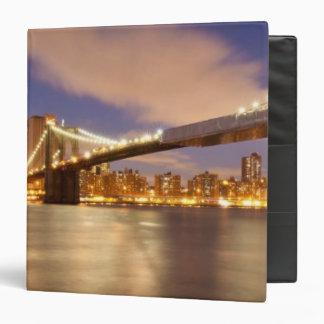 Brooklyn Bridge and Manhattan at Night. 3 Ring Binders
