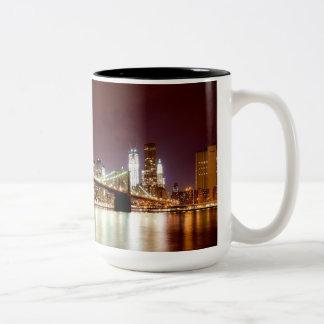 Brooklyn Bridge and Manhattan night view panorama Mugs