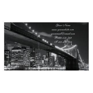 Brooklyn Bridge and Manhattan Skyline At Night Business Cards