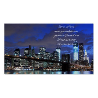 Brooklyn Bridge and Manhattan Skyline At Night Business Card Template