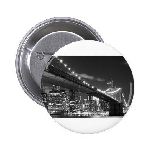 Brooklyn Bridge and Manhattan Skyline At Night Pinback Buttons