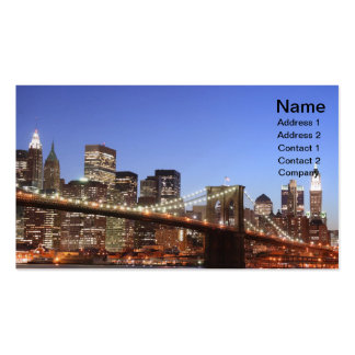 Brooklyn Bridge and Manhattan Skyline At Night Double-Sided Standard Business Cards (Pack Of 100)