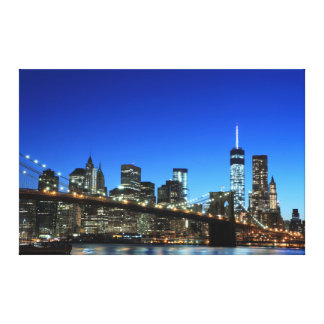 Brooklyn Bridge and Manhattan Skyline At Night, Ne Canvas Print