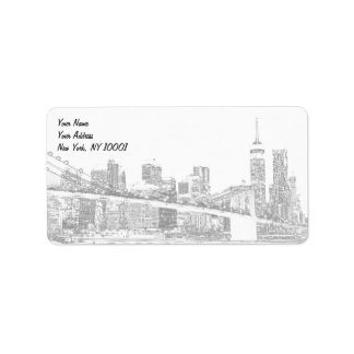 Brooklyn Bridge and Manhattan Skyline At Night, Ne Label