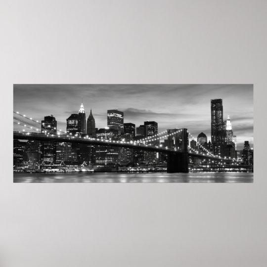 Brooklyn Bridge and Manhattan Skyline at Night NYC Poster