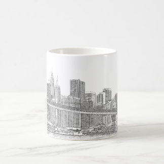 Brooklyn Bridge and Manhattan Skyline Classic White Coffee Mug