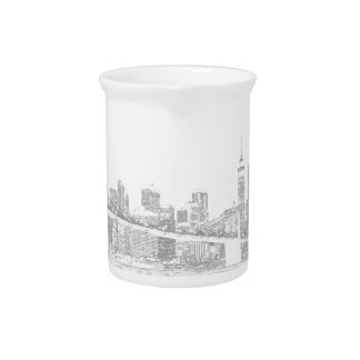 Brooklyn Bridge and Manhattan Skyline Drink Pitcher