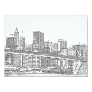 Brooklyn Bridge and Manhattan Skyline Custom Invitations