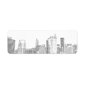 Brooklyn Bridge and Manhattan Skyline Label