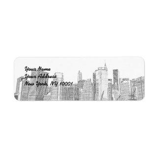 Brooklyn Bridge and Manhattan Skyline Return Address Label
