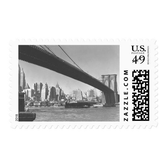 Brooklyn bridge and Manhattan skyline New York Postage