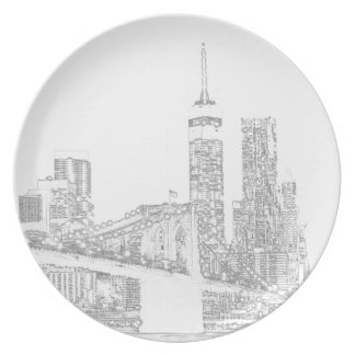 Brooklyn Bridge and Manhattan Skyline Plate