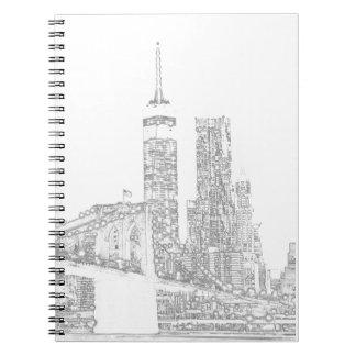 Brooklyn Bridge and Manhattan Skyline Spiral Notebook