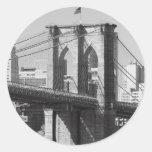 Brooklyn Bridge and Manhattan Skyline Round Sticker