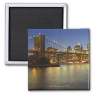 Brooklyn Bridge and New York City buildings 2 Inch Square Magnet