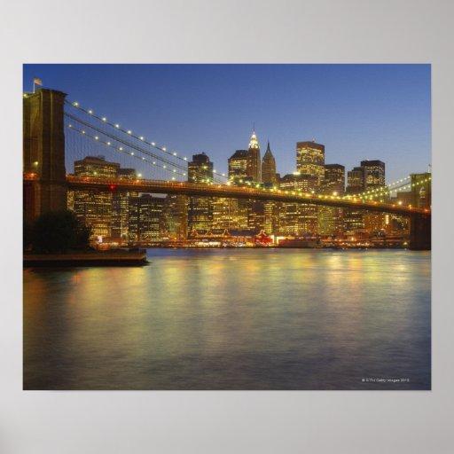Brooklyn Bridge and New York City buildings Poster