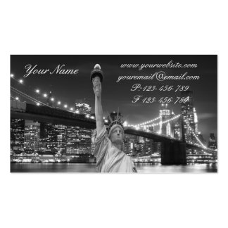 Brooklyn Bridge and The Statue of Liberty at Nigh Double-Sided Standard Business Cards (Pack Of 100)