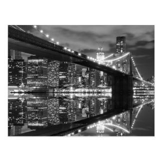 Brooklyn Bridge and The Statue of Liberty at Night Postcard