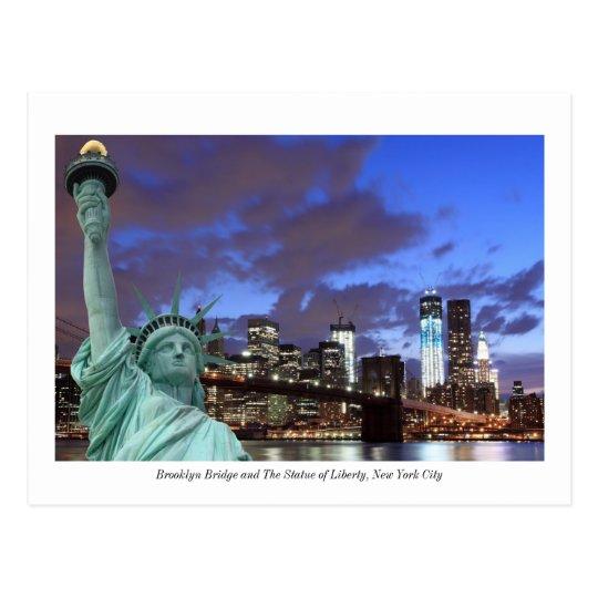 Brooklyn Bridge and The Statue of Liberty at Night Postcard