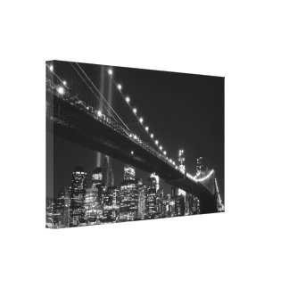 Brooklyn Bridge and the Towers of Lights at Night Canvas Print