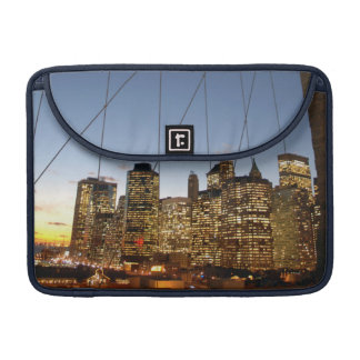 Brooklyn Bridge At Dusk With Manhattan Skyline MacBook Pro Sleeves