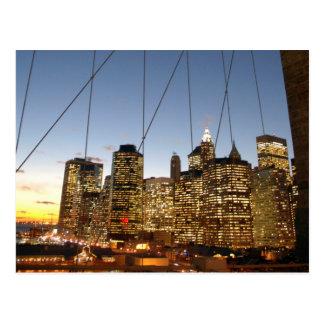 Brooklyn Bridge At Dusk With Manhattan Skyline Postcard