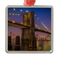 Brooklyn Bridge at Night in New York City USA Metal Ornament