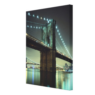 Brooklyn Bridge at night  Manhattan Bridge Canvas Print