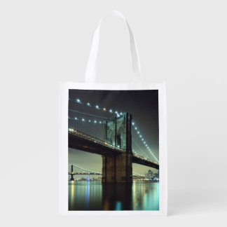 Brooklyn Bridge at night  Manhattan Bridge Grocery Bag