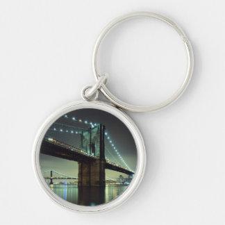 Brooklyn Bridge at night  Manhattan Bridge Keychain