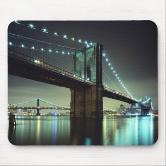 Brooklyn Bridge at night Manhattan Bridge Mouse Pads