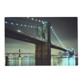Brooklyn Bridge at night  Manhattan Bridge Placemat