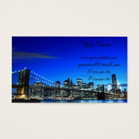 Brooklyn Bridge At Night, New York City Business Card