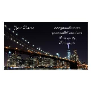 Brooklyn Bridge At Night, New York City Business Card Template