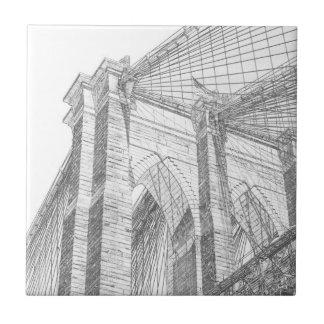 Brooklyn Bridge at Night, New York City Ceramic Tile