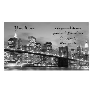 Brooklyn Bridge At Night, New York City Double-Sided Standard Business Cards (Pack Of 100)