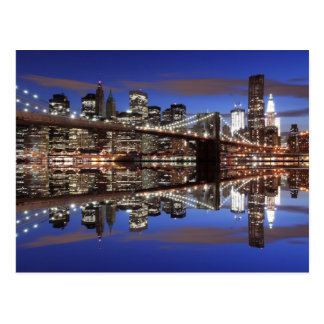 Brooklyn Bridge At Night, New York City Postcard