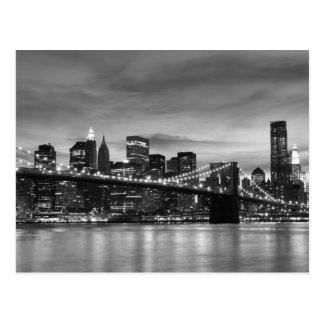 Brooklyn Bridge at Night, New York City Post Cards