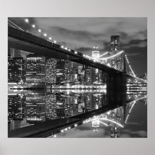 Brooklyn Bridge at Night, New York City Poster