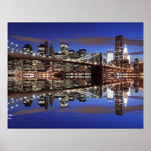 Brooklyn Bridge At Night, New York City Print