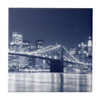 Brooklyn Bridge at Night, New York City Tile