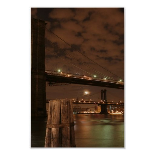 brooklyn bridge at night poster zazzle. Black Bedroom Furniture Sets. Home Design Ideas