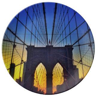 Brooklyn Bridge At Sunset Porcelain Plates