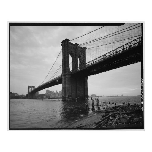 brooklyn bridge black and white photograph poster zazzle. Black Bedroom Furniture Sets. Home Design Ideas