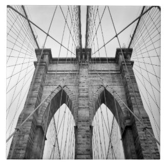 Brooklyn Bridge Black & White Photo Closeup Tile