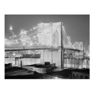 Brooklyn Bridge Black & White Postcard